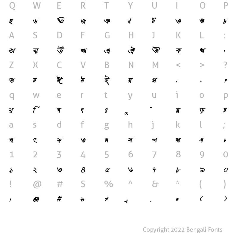 Character Map of HooglyMJ Bold Italic